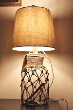 grande cristal madera y Naútico Rellenable Lámpara de Mesa Botella Estilo Luz