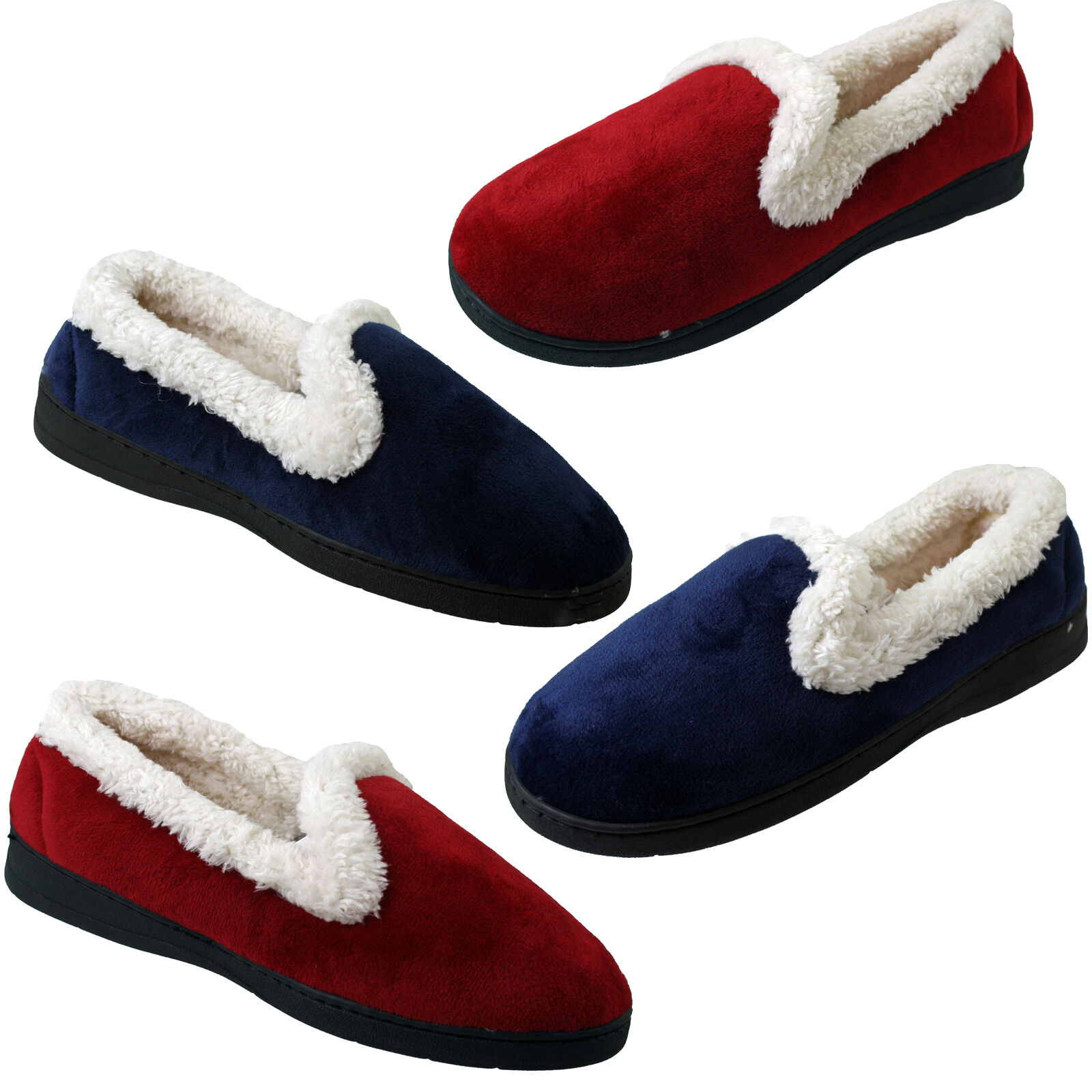 Ladies Full Fur Collared Shoes Womens Warm Slip-on Memory Foam Slippers Size