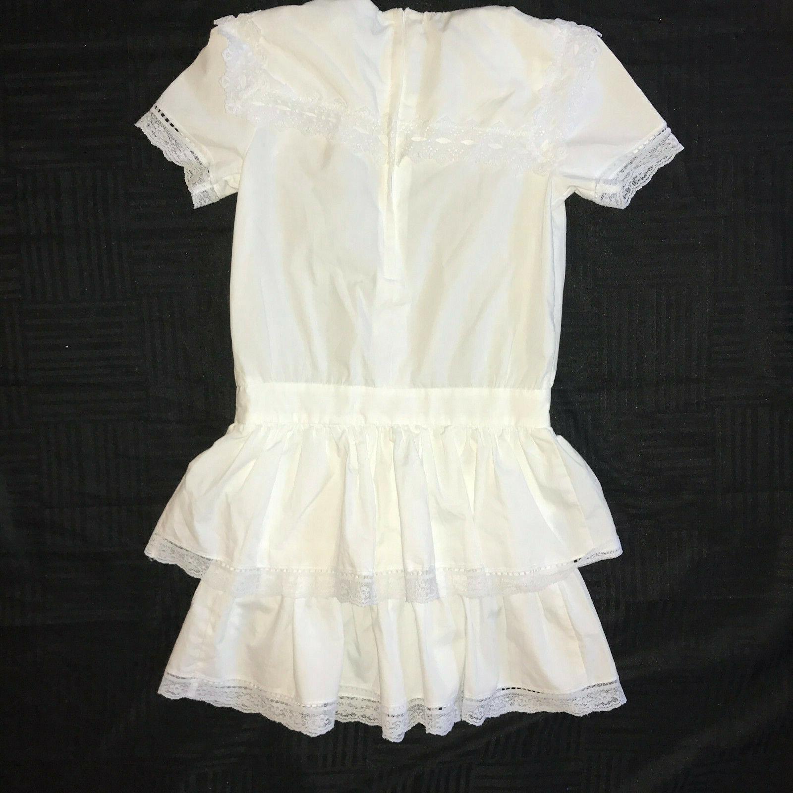 Victorian dress COSTUME girls size 7  white cotto… - image 5