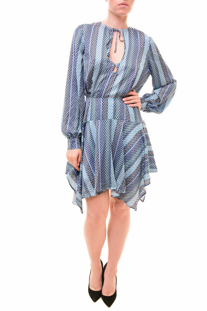 Finders Keepers Wonderful Huntr L S Dress bluee Geo Print S RRP  160 BCF710