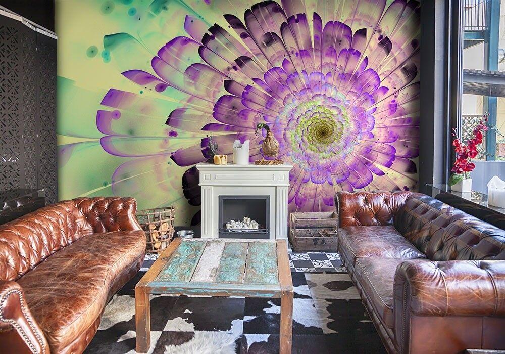 Giant Wall mural photo wallpaper Spiral Flower design lila Grün Gelb deco