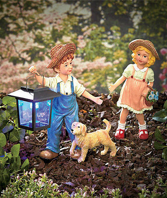 Cute Solar Powered Light! 3-Pc Garden Statue Set Boy With Girl And Dog