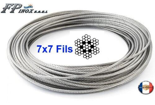 Câble inox 316 - A4 7X7 ( 49 fils ) Diamètre 1mm 1.5mm 2mm 3mm 4mm.