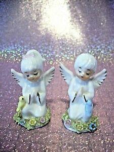 **RARE* VTG Napco Miniature Praying Angel Girl Boy Couple w/ Birdies Figurines