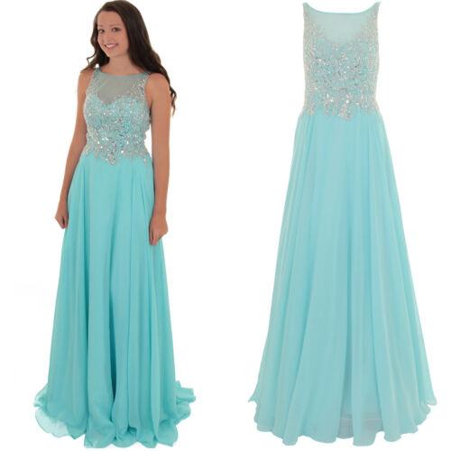 Sleeveless Long Low Back Mesh Chiffon Prom Evening Bridesmaid Party Dress