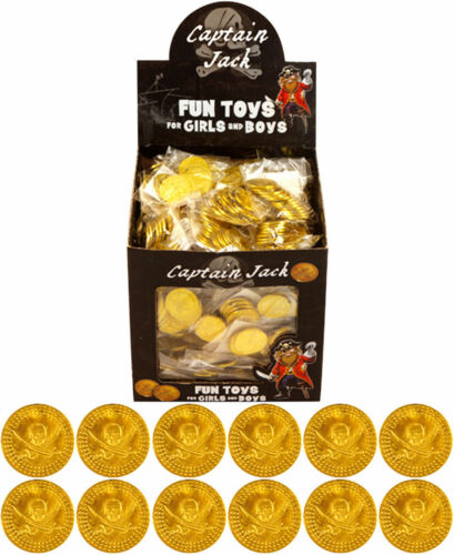 Children Kids Boys Pirate Plastic Gold Treasure Coins Party Loot Bag Fillers!