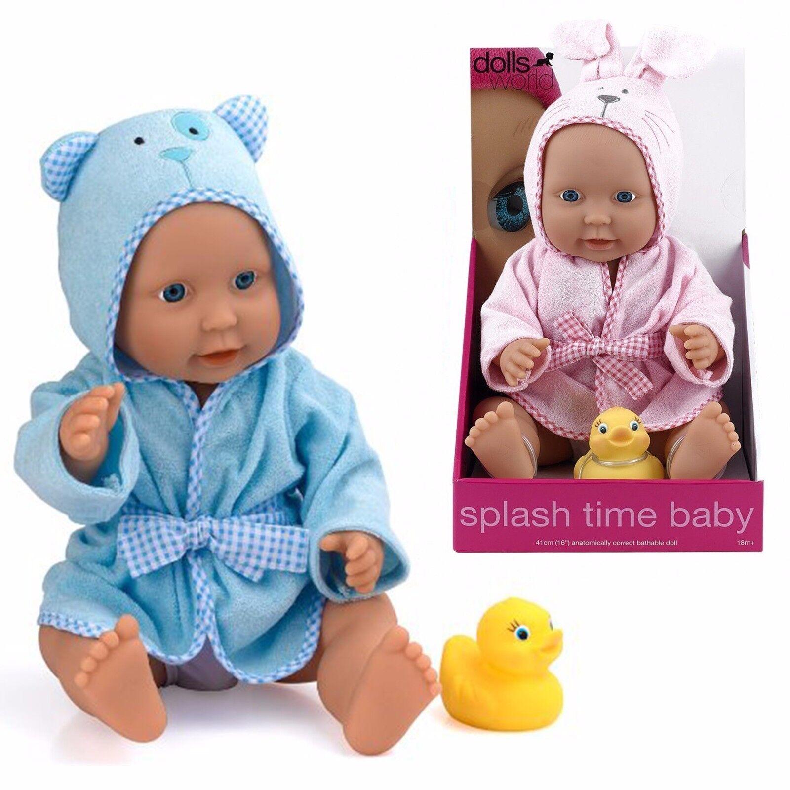 40.6cm Dolls World Vinyl Spritzer Time Baby Baden Puppe mit Morgenmantel Ente