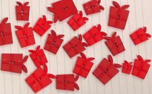 Present-Gift-Buttons-Red-7pc-Birthday-D121-Aussie-Seller