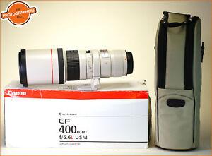 Canon-400mm-F5-6L-USM-EF-AUTOFOCUS-OBIETTIVO-ZOOM-L-Series-F-R-Tappi-Case-amp-Box
