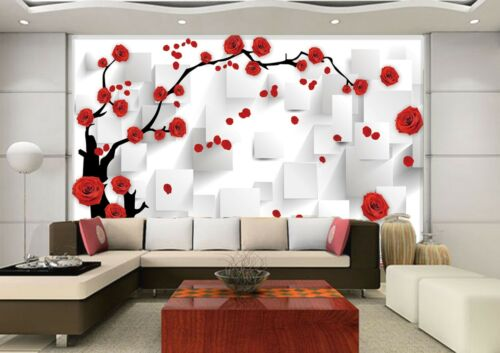 3D Red rose squid Wall Paper Print Decal Wall Deco Indoor wall Mural