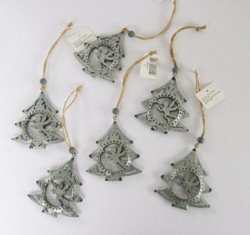 Shabby Chic Rustic Antique Silver Metal Angel Cherub Christmas Tree Decoration