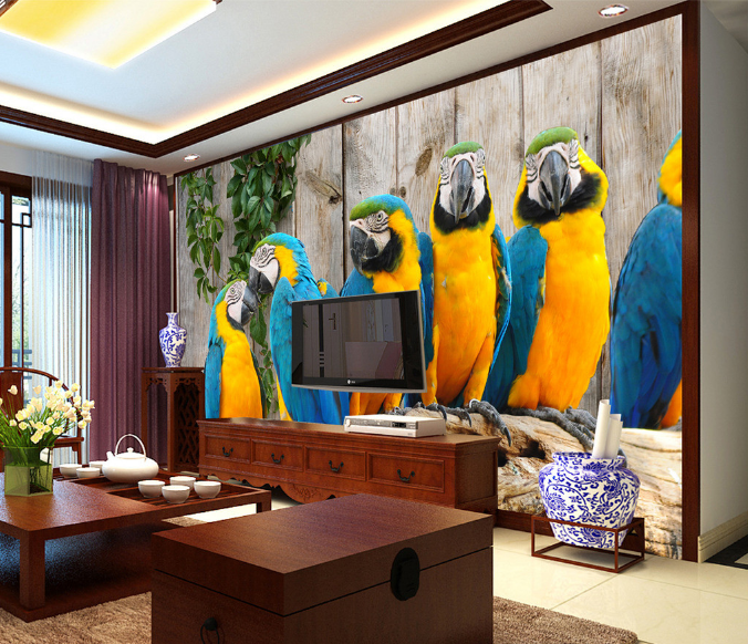 3D ColGoldt Parrot Group 28 Paper Wall Print Wall Decal Wall Deco Indoor Murals