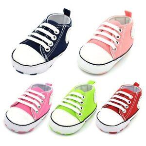 Kids-Baby-Soft-Sole-Crib-Shoes-Laces-Canvas-Boys-Girls-Non-Slip-Prewalker-0-18M