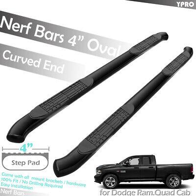 """4/"""" Curved Black Side Step Nerf Bar Fit 2009-2018 DODGE RAM 1500 QUAD CAB"""
