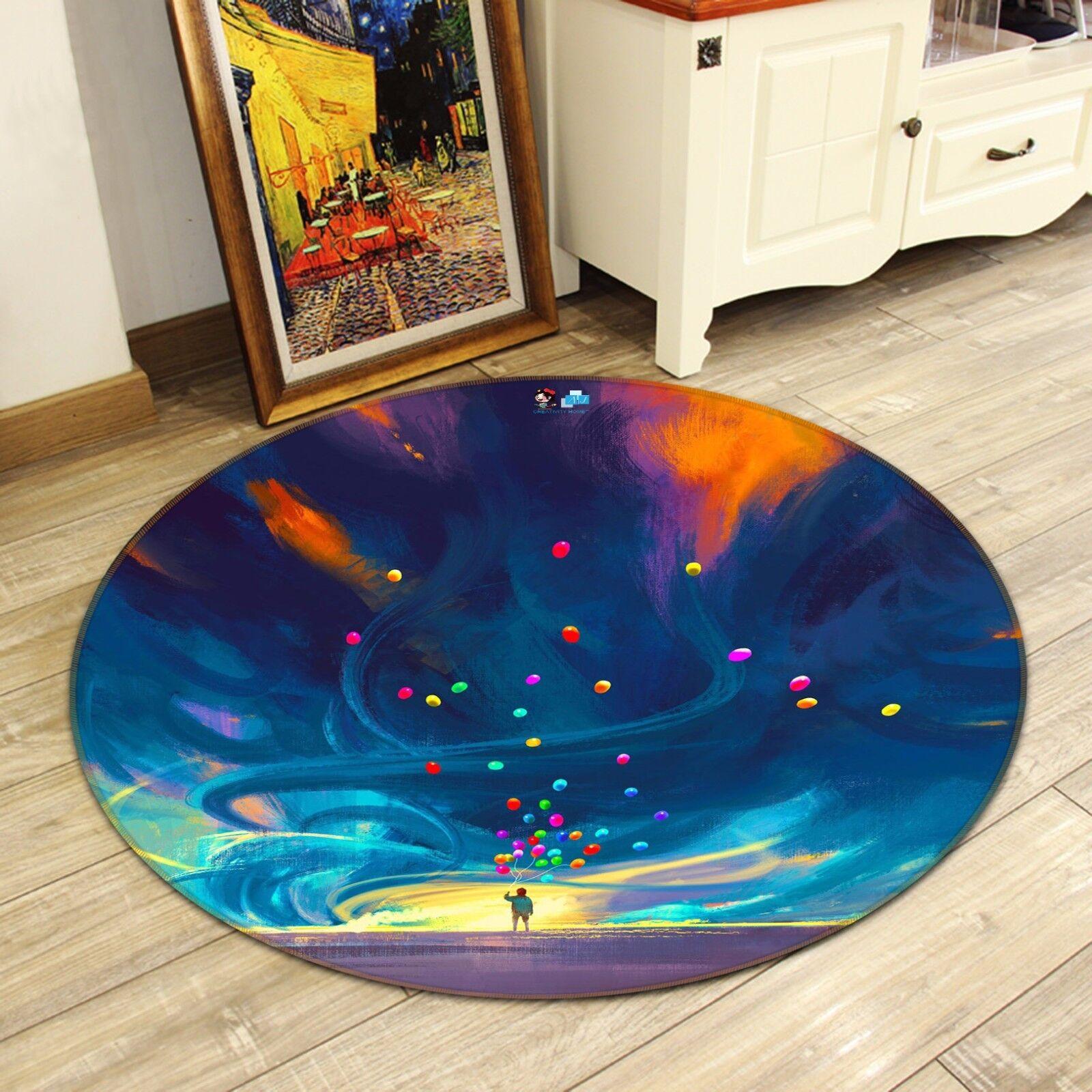 3D Balloon WaterColoreees 9 Non Slip Rug Mat Room Mat Round Elegant Photo Carpet CA