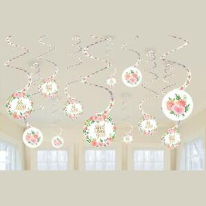 SWEET-BABY-GIRL-SPIRAL-HANGING-Party-Shower-Room-Decorations-Flowers-PINK-GOLD