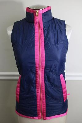 Z Vineyard Vines Women S Navy Blue Pink Quilted Vest