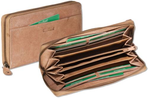 Woodland® Leder Damengeldbörse in Braun mit umlaufendem YKK Reißverschluss