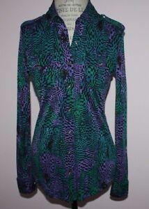 3ce54641b6fc Womens  349 Tory Burch Long-Sleeve Silk Multi-Color Jersey Blouse ...