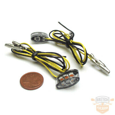 LED Micro Mini Blinker Disc Rund schwarz getönt Harley Bagger Custom universal