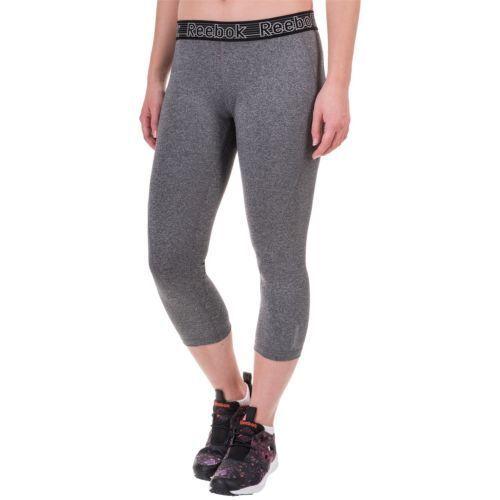 REEBOK Women CAPRI LEGGING GRAY M Medium  Yoga Running  Capri NWT $60