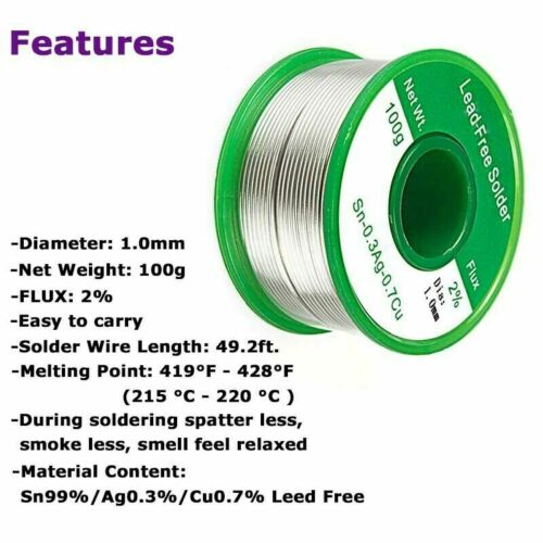 100g Fluxed Soldering Wire Lead Free Solder Sn99.3 Cu0.7 Vary Size 1.0mm