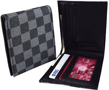 Mens Damier Wallet - Black & Grey - Faux Leather ID & Card Cash Slots - NEW Gift