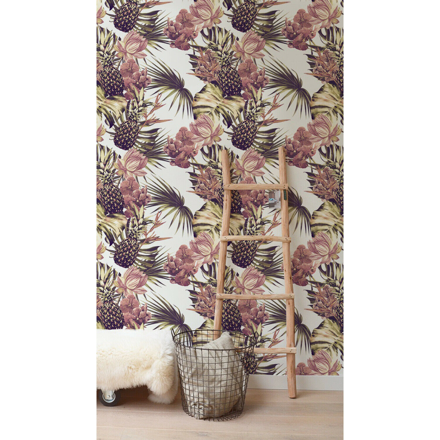 Tropical Renters Palms Leaves and Pineapple Design Self Adhesive Wall Mural