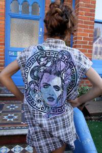Medusa-Snake-Skull-Brown-Plaid-Sleeveless-Oversized-Alt-Upcycled-Boyf-Shirt
