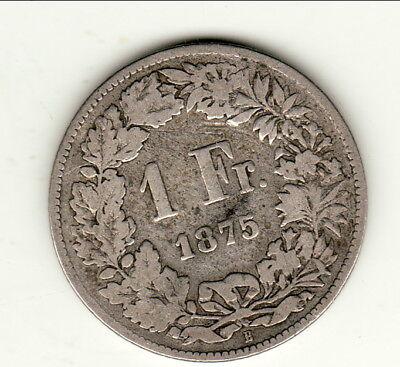 Getrouw Suisse Rare 1 Franc Argent 1875 Berne Puur Wit En Doorschijnend
