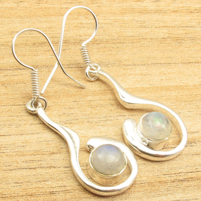 Stylish French Hook RAINBOW MOONSTONE Earrings 1 7/8 inches ! 925 Silver Plated