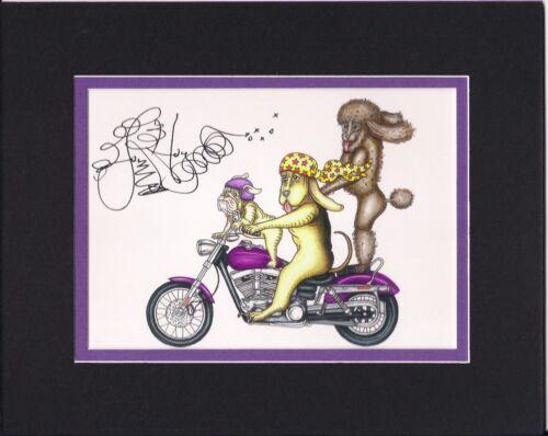 "MOTORCYCLE POODLE LABRADOR /""DOG TRIO RIDING HARLEY/"" Jamie Hayes BULLDOG"