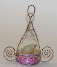 Christbaumschmuck SEBNITZ GONDEL FROSCH aus Glas leon. Draht Engelshaar um 1900