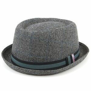 61fd52279c7 Porkpie Pork Pie Hat Hawkins GREY Tweed Trilby Fedora Cap Unisex ...