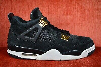 separation shoes 02037 7befe GOOD Nike Air Jordan 4 Retro Royalty Size 11 Black Suede Gold 308497-032    eBay