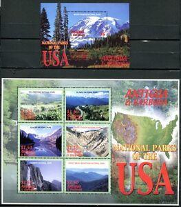 Antigua 2006 Parcs Nationaux États-unis Montagnes Paysages 4321-26 + Bloc 623 Neuf Sans Charnière Excellente Qualité
