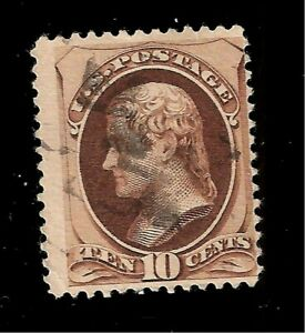 US-1879-Sc-187-10-c-Brown-Jefferson-USED-Light-Cancel-Crisp-Color