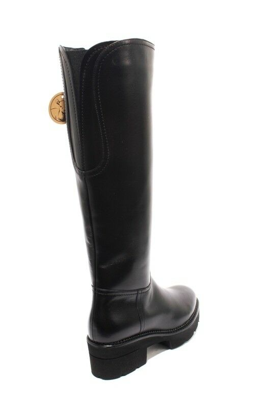 Luca Grossi Grossi Grossi 3882 Black Leather Sheepskin Fur Knee High Zip Boots 39.5   US 9.5 6022e4