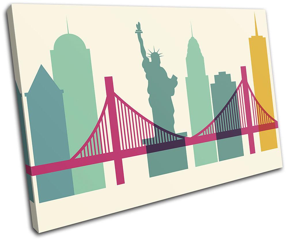 New york Colourful Simple City SINGLE TELA parete arte foto stampa