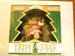Coca-Cola Trim Tree Collection Santa Claus with Child on Lap Christmas Ornament