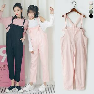 1360f6dc60a0 Womens Harem Jumpsuit Strap Cropped Pants Baggy Drop Crotch Overalls ...