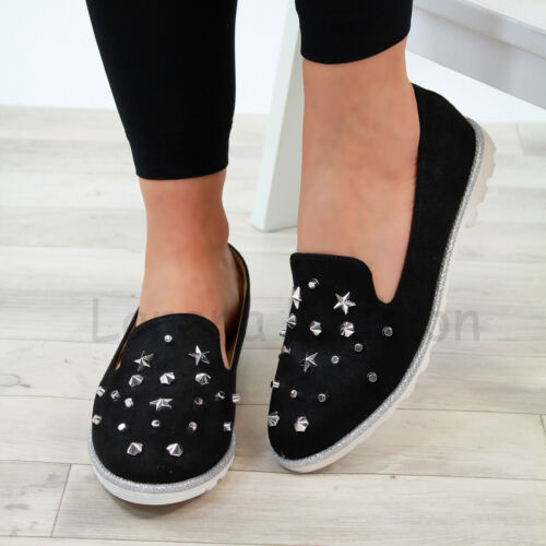 New Womens Flat Pumps Studs Comfy Slip On Ballerinas Plimsolls Casual Shoes Size