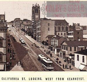 San-Francisco-Cable-Car-1890-039-s-California-St-Mission-Cigar-Store-Photo-Lith-Card