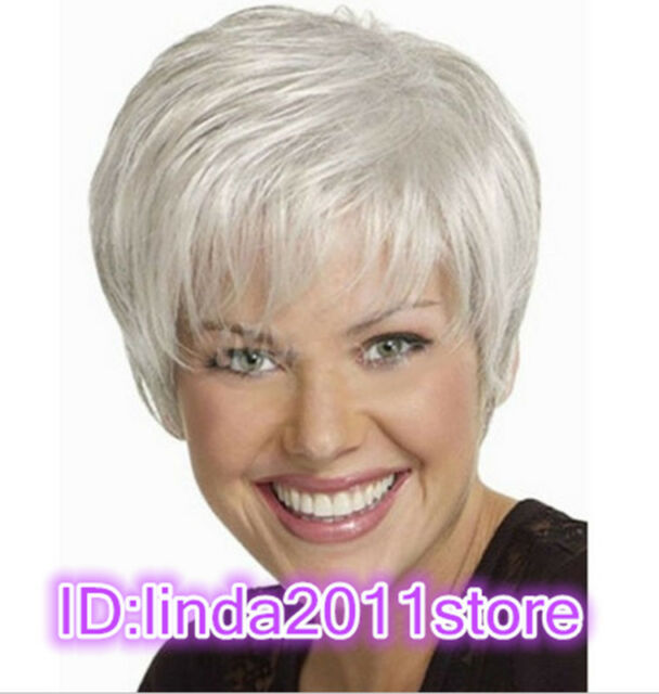 2018 New Beautiful Women lady Wig Short Straight Silver Grey Synthetic Hair Wigs