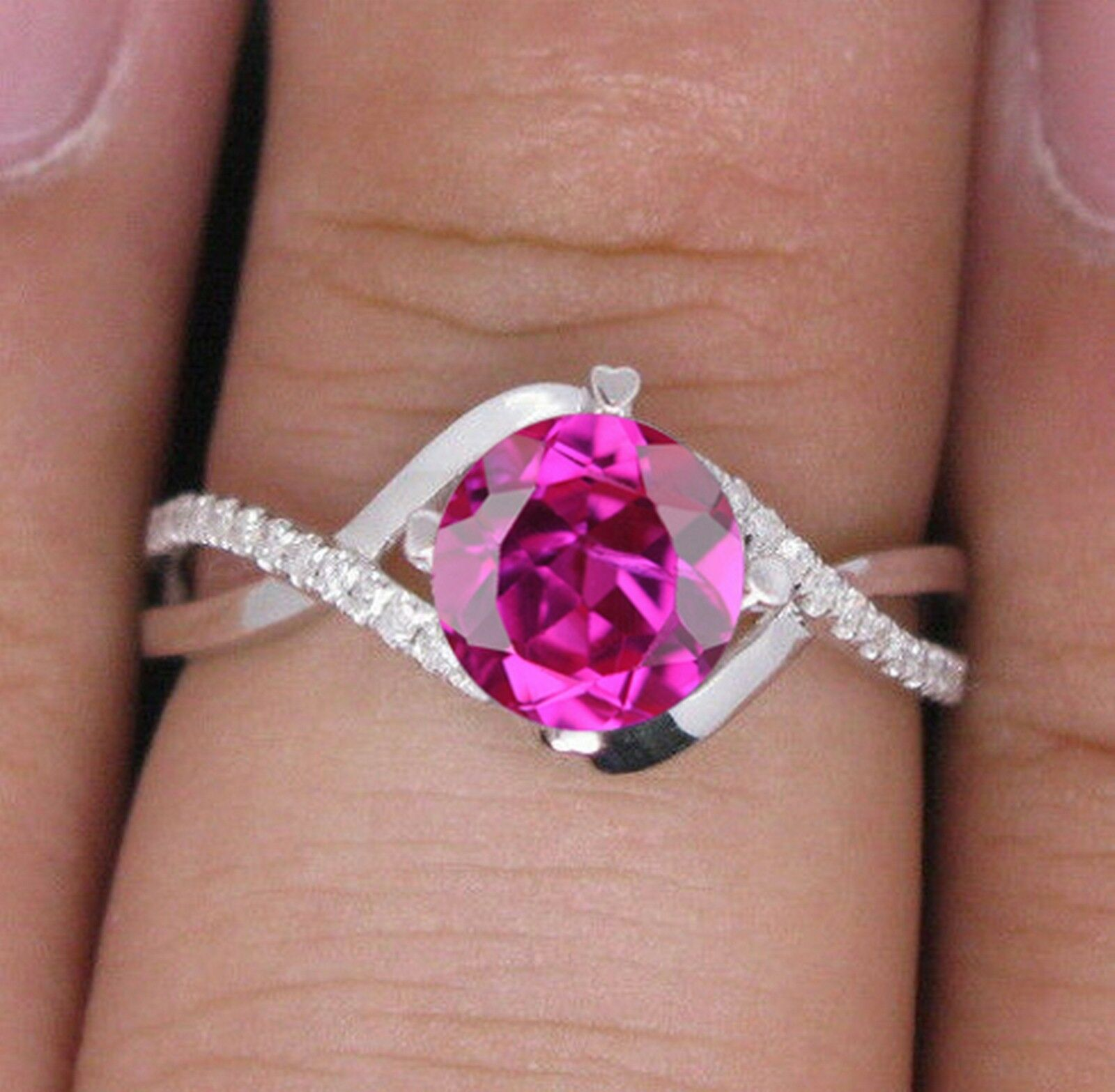 14KT White gold Natural Pink Tourmaline 1.55 Carat EGL Certified Diamond Ring