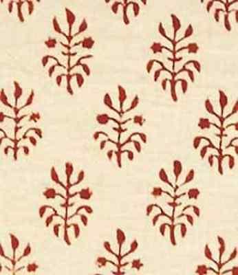 Cream & Burgundy Hand Block Print, Cotton Fabric. 2½ Yards