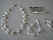 Parure complète Bijoux couleur Ivoire, p robe de Mariée/Mariage/Soirée, perles