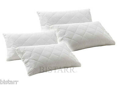 FOUR PACK QUILTED PILLOWS - SUPER FIRM DELUXE - HOLLOWFIBRE FILLED 4 BED BEDDING