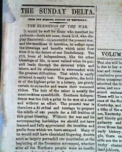 Rare-NEW-ORLEANS-Deep-South-CONFEDERATE-w-Abe-Lincoln-Civil-War-1861-Newspaper