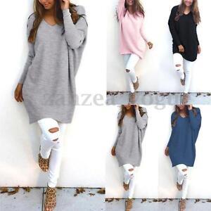 Women-Autumn-Winter-Knitted-Sweater-Top-Shirt-Mini-Short-Jumper-Dress-Pullover